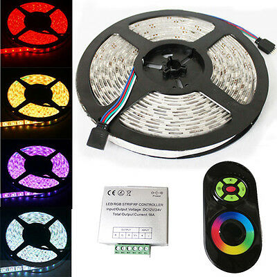 5M 300 Leds SMD 5050 RGB Led Strip Lights Waterproof + Touch Panel RF Controller