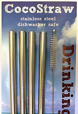 4 Stainless Steel Wide Smoothie Straws - CocoStraw Large Straight Frozen Drink -