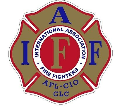 """4"""" IAFF Decal Gold with Red & Blue Trim Exterior Mount Please Read Auction"""