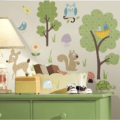 NEW RoomMates Repositionable Childrens Wall Stickers - Woodland Animals