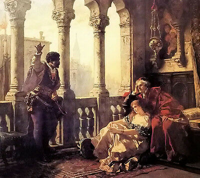 Oil carl ludwig friedrich becker - othello relating his adventures to desdemona