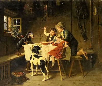 Perfect Oil painting adolf eberle - dinner time children with their pets dogs @