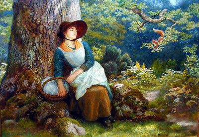 Nice Oil painting female portrait woman have a rest under the tree & Squirrel