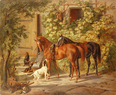 Oil painting Albrecht Adam - horse by porch with the hound pray in landscape art