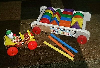 Vintage 1961 Fisher Price Creative Block Pull Wagon & 1965 Jalopy pull toy