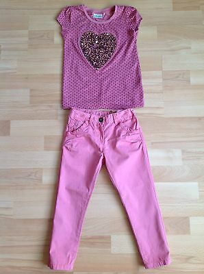 Girls next outfit pink jeans t shirt heart sequin top age 5 years