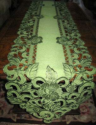 "EMBROIDERED CUTWORK TABLE RUNNER DRESSER SCARF LACY FLORAL SAGE GREEN 68""x 13"""