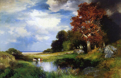 Oil painting Thomas Moran - View of East Hampton with old trees cows drinking