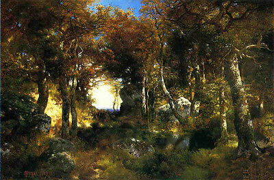 """Oil art Thomas Moran - The Woodland Pool with forest landscape free shipping 36"""""""