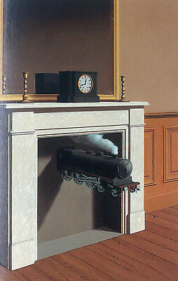 Elegance Oil painting surrealism art - Time Transfixed - train clock no framed