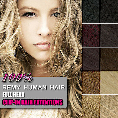 100% Real Human Hair Full Head Clip in Hair Extensions