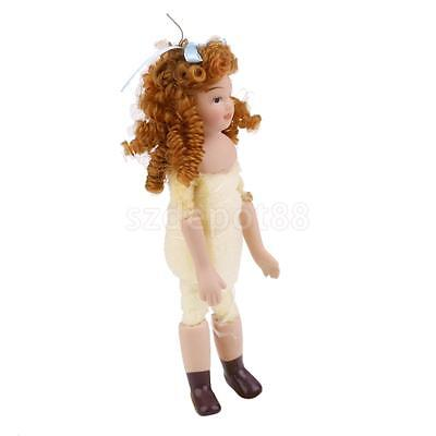 Dollhouse Miniature Porcelain Figure Doll Undressed Little Girl with Curly Hair