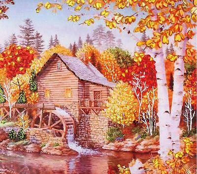 Ribbon Embroidery Kit Pastoral Waterwheel Needlework Craft Kit RE3038