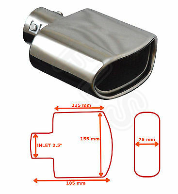 """UNIVERSAL STAINLESS STEEL EXHAUST TAILPIPE 2.5"""" INLET YFX-0251–Mercedes 1"""