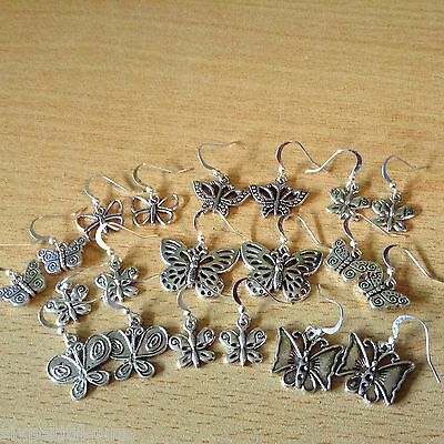 10 pairs silver plated earrings BUTTERFLIES mixed  joblot wholesale jewellery