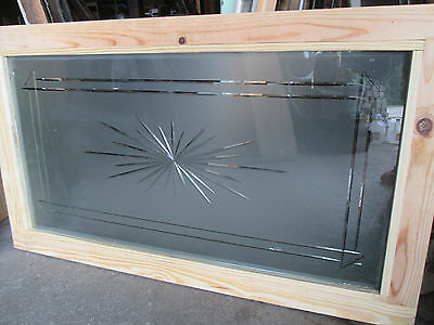 ~ ANTIQUE WHEEL CUT ETCHED GLASS WINDOW ~ 22 x 38 ~ ARCHITECTURAL  SALVAGE ~