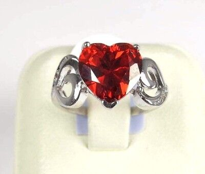 R#6322 simulated Red Garnet gemstone Heart cut ladies silver ring Size 7.5