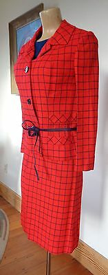 Mid 1960S STEFAN for BRIARBROOK BOLD RED Windowpane PLAID WOMENS SUIT 3pc
