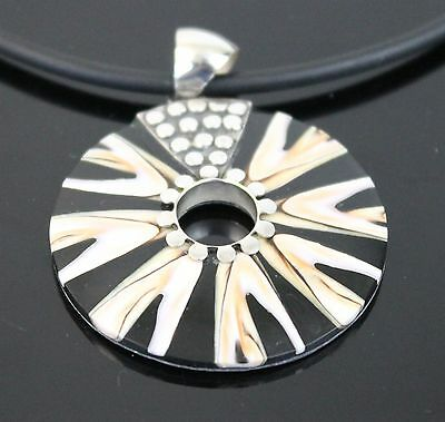 Vintage Hand Crafted Black White Abalone Shell Pendant 925 Sterling Silver Ring