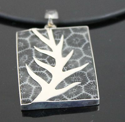 VTG Hand Crafted Geometric Abalone Shell Pendant 925 Sterling Silver Tree Branch