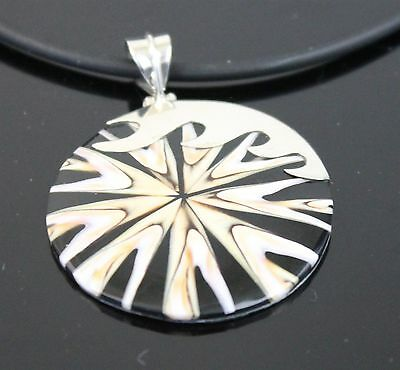 Vintage Hand Crafted Star Abalone Shell Pendant 925 Sterling Silver Waves