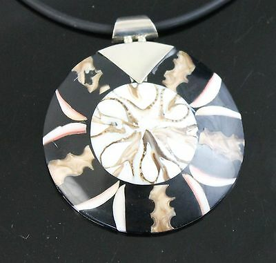 Vintage Hand Crafted Black White Round Abalone Shell Pendant 925 Sterling Silver