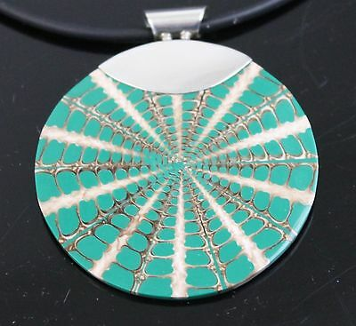 Vintage Hand Crafted White Teal Abalone Shell Pendant 925 Sterling Silver