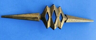 "Brass Vintage MCM Atomic Drawer Pull Knob Antique Hardware 2 1/2"" centers"