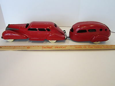 "Vintage Pressed  Steel,  La Salle  Sedan  &  Trailer  ""original Beauty"" Art Deco"