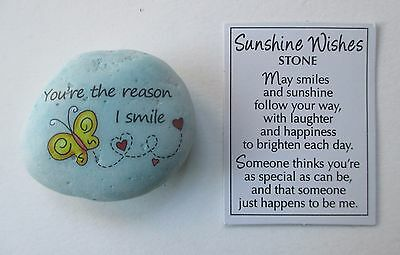 b You're the reason I smile butterfly hearts SUNSHINE WISHES MESSAGE STONE ganz