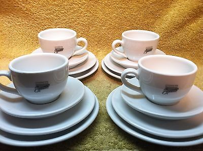 Winterling Porzellan Germany 16 Pc Tea Cup/Saucers for 4 Promotional Adv w Logo