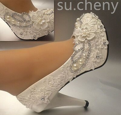 "su.cheny 3""4 "" heel white ivory lace pearls Wedding shoes pumps bridal size 5-11"
