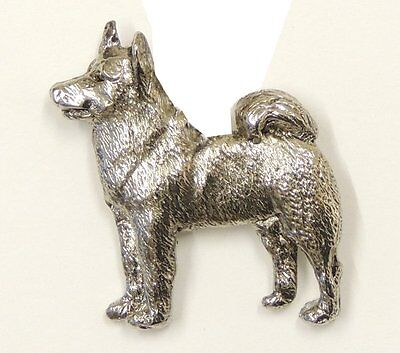 Elkhound Brooch, Silver Plated