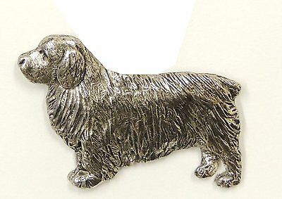 Clumber Spaniel Brooch, Silver Plated