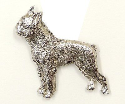 Boston Terrier  Brooch, Silver Plated