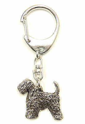 Wheaten Terrier with tail (soft coated) Silver Keyring