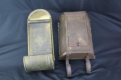 Two (2) Antique Brass Mailboxes
