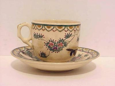 Signed Old Japanese Satsuma Porcelain Pottery Ceramic Nature Gold Cup Saucer Set