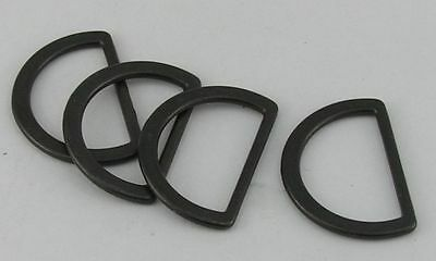 8 D-Rings flat black 20mm (27x18mm) stainless steel new 07.40sch