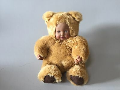 ANNE GEDDES BABY BEARS,Brown Bear,Brown Skin DOLL mini Anne Geddes collectible