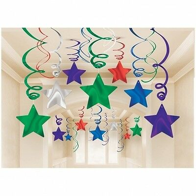 30 X Large Multi Colour Birthday Party Hanging Swirl Decoration