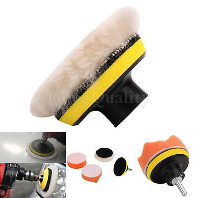 Gross Buffer Waxing Pad Kit +Drill Adapter For Car Shell Window Light Polisher
