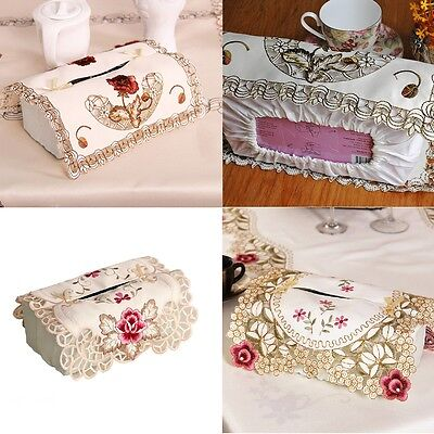 yazi Tissue Box Cover Embroidered Flower Cutwork Foldable Rectangle Home Decor