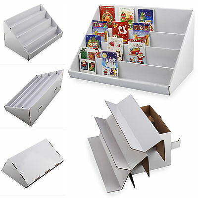 2Pc 4 Tier Collapsible Cardboard Greeting Card Display Stand Counter Stand White