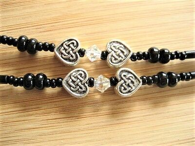Spectacles Chain Glasses Chain - Black & Silver Celtic Heart 28 inchHandmade UK