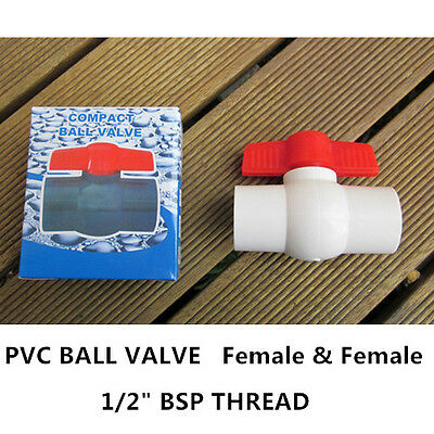 "PVC Ball Valve - 1/2"" (15mm) Thread End - F/F 34PCS"