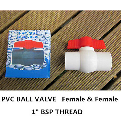 "PVC Ball Valve -1"" Thread End - F/F, 12PCS"