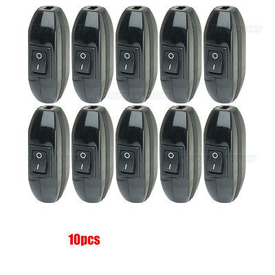 10 x 6A / 250v Inline Lamp Lighting Light Rocker Through Switch for 3-Core Cable