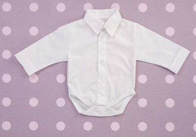 Baby Boy White Smart Shirt Style Formal  Bodysuit Body Shirt Long Sleeve 0-24m