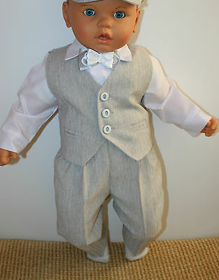 Baby Boy Christening Pageboy Formal Party Smart Suit 4 Pcs Outfit Waistcoat Grey